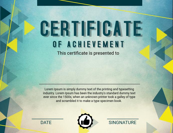 Green Certificate of Achievement Template