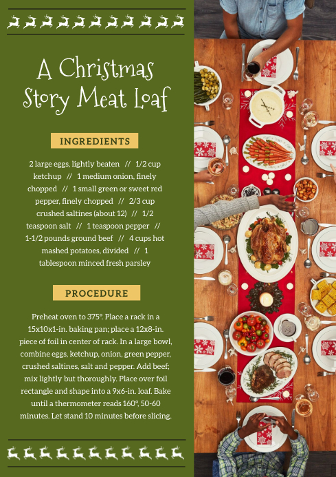 Green Christmas Meat Loaf Recipe Card A4 template