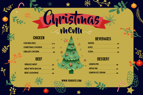 Green Christmas Menu Landscape Poster