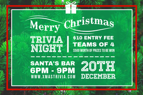 Green Christmas Trivia Night Invite Poster
