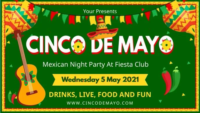 Green Cinco de Mayo Party Invitation Digital Facebook-omslagvideo (16: 9) template