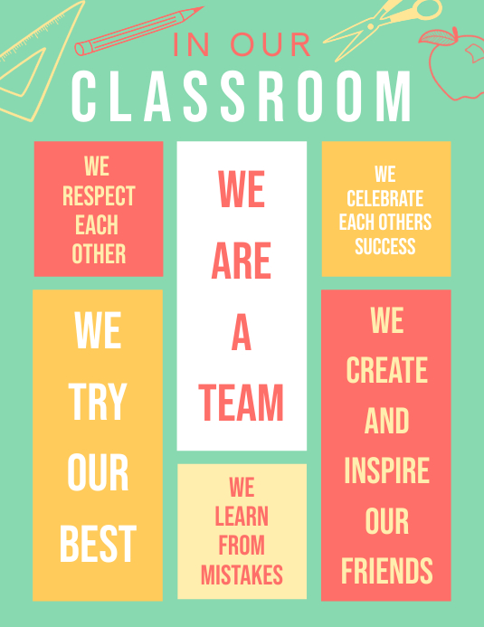 Green Class Rules Chart Poster Template Printable