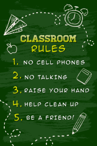 Green classroom rules poster