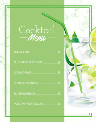 Green Cocktail Menu