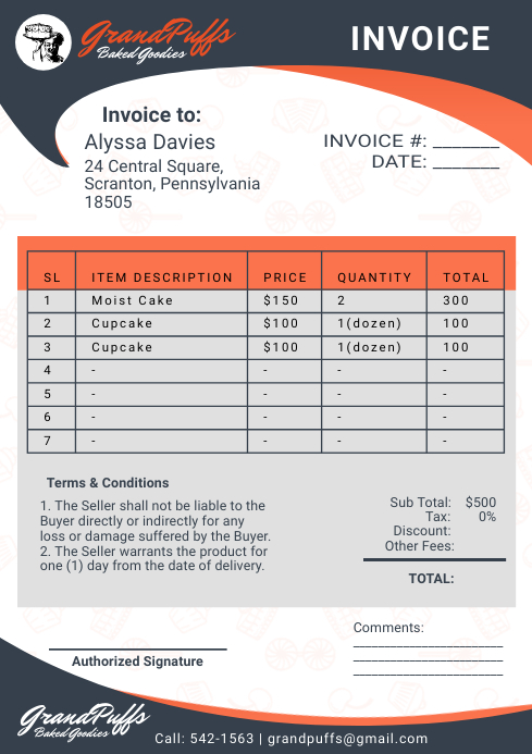 Green Corporate Office Invoice A4 Template
