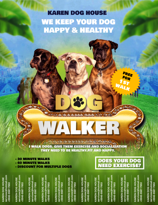Green Dog Walker Flyer with Tear-off Tabs template