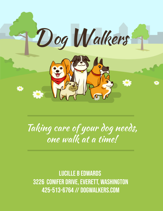 Green Dog Walking Cartoonish Flyer Løbeseddel (US Letter) template