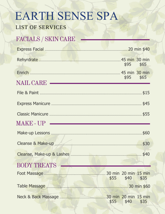 Green Earth Spa price List Flyer Template