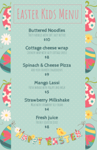 Green Easter Kids Menu