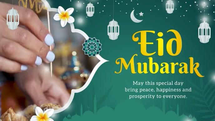 Green Eid Mubarak Wish Facebook Cover Video template