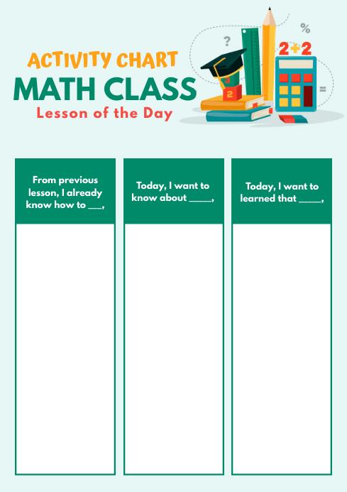 Green Elementary Mathematics Worksheet Template PosterMyWall