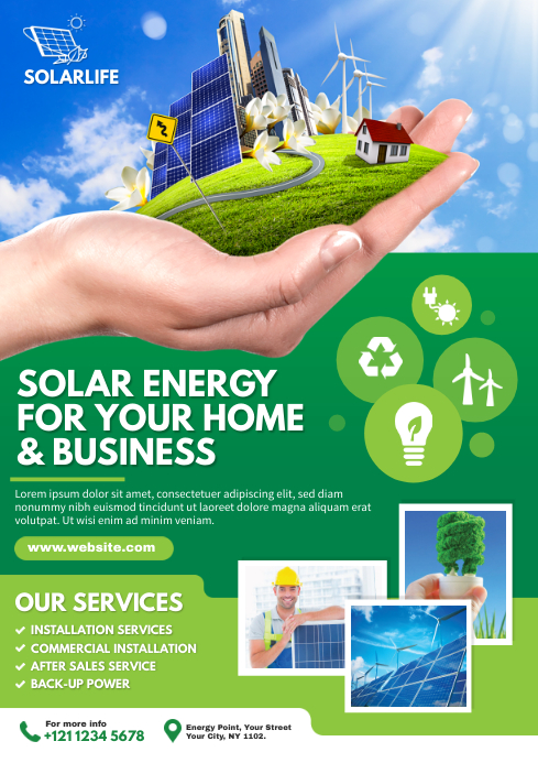 Green energy flyer template postermywall - New home design center checklist ...