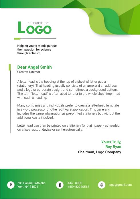 Green Environment Letterhead