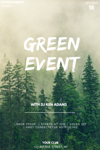 Green event party flyer template Póster