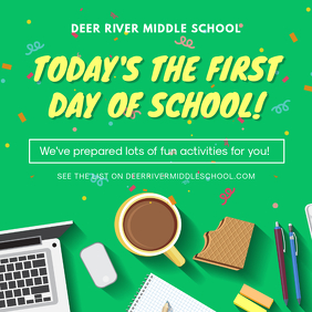 Green First Day of School Invitation