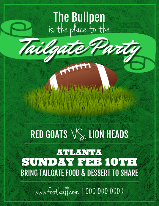 Green Football Tailgate Party Flyer