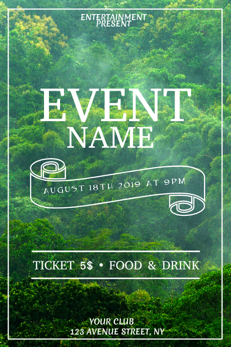 Green forest event flyer template