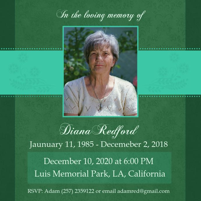 Green Funeral Service Invite Card
