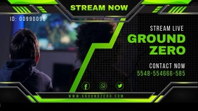 Green Game Streaming Twitch Banner template