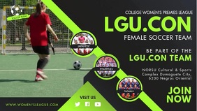 Green Girls' Football Game Try Outs FB Cover template