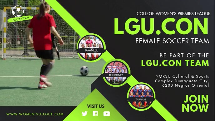 Green Girls' Football Game Try Outs FB Cover Video Sampul Facebook (16:9) template