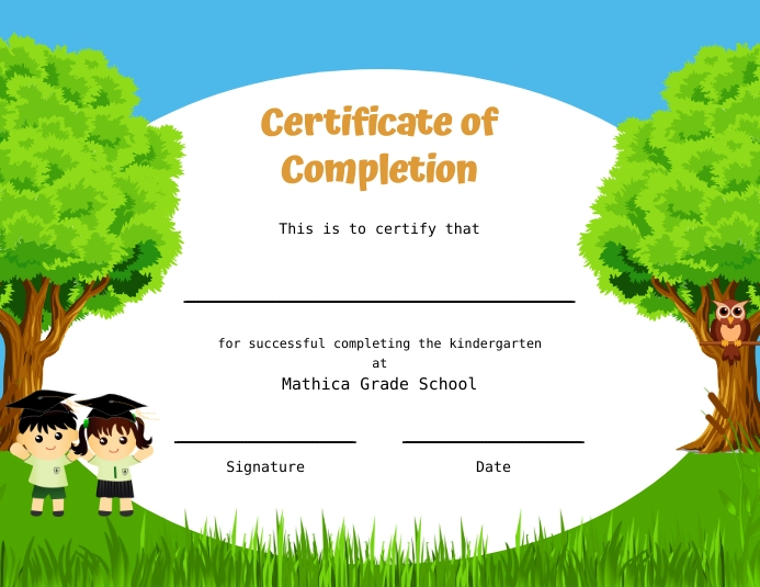 Green grass and trees kindergarten diploma ce Рекламная листовка (US Letter) template