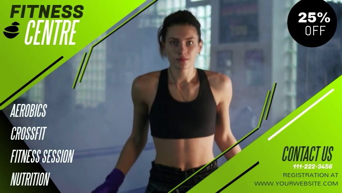 Green Gym and Fitness Facebook Cover Video