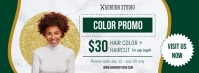 Green Hair Salon Promotion Banner Portada de Facebook template