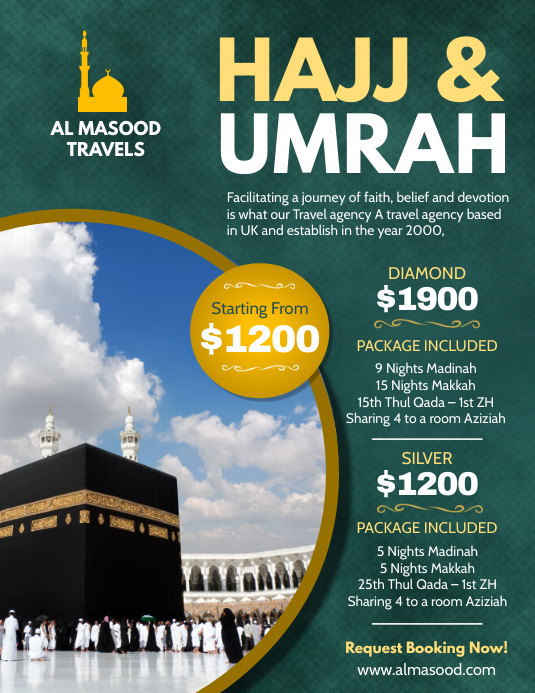 Green Hajj and Umrah Package Flyer