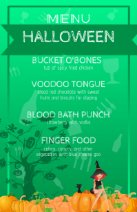 Green Half Page Wide Halloween Menu