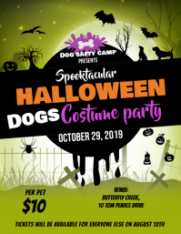 Green Halloween Dogs Party Flyer Template