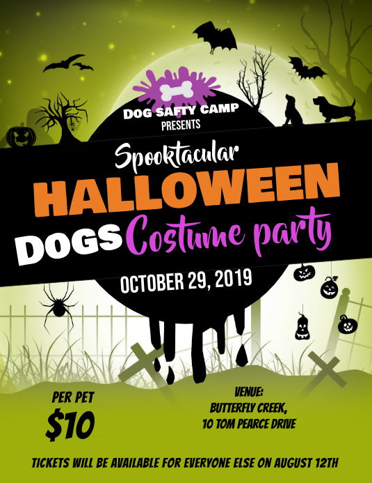 Green Halloween Dogs Party Flyer Template ใบปลิว (US Letter)
