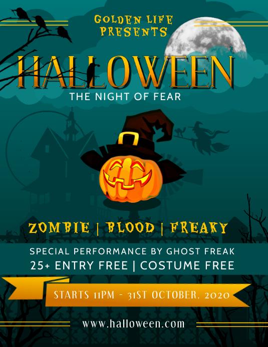 Green Halloween Flyer Pamflet (VSA Brief) template