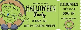 Green Halloween Monster Party Ticket