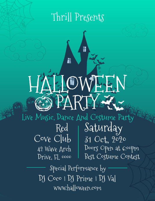 Green Halloween Party Flyer