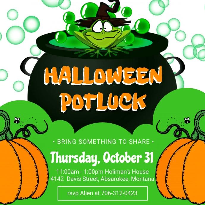 Green Halloween Potluck Invitation Video