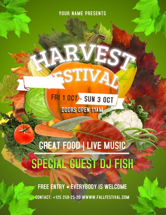 Green Harvest Festival Flyer template