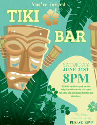 Green Hawiian Party Flyer Template