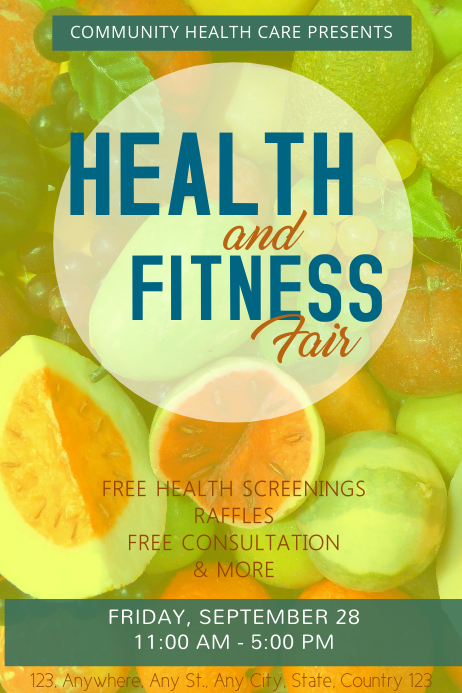 Green Health and Fitness Poster Template