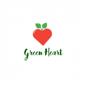 Green Heart Logo Design Template