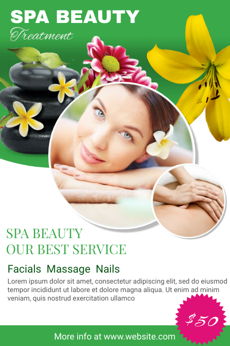 green herbal spa and salon poster template postermywall