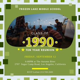 Green High School Reunion Party Invite