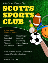 Green high school sports club flyer template