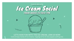 Green Ice Cream Social Facebook Banner