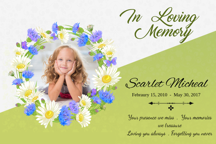 Green In Loving Memory Poster template Póster