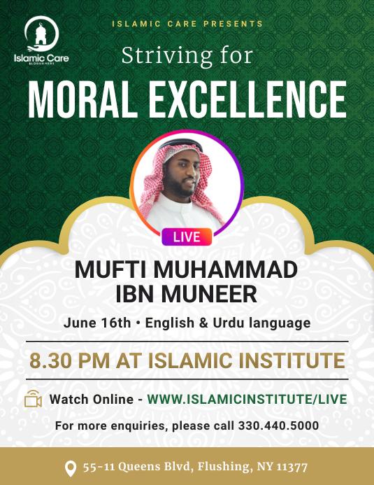 Green Islamic Sermon Invitation Flyer