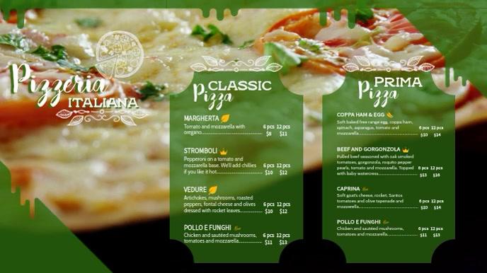 Green Italian Pizza Menu Template