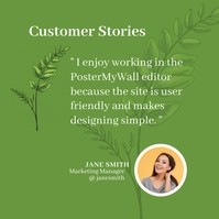 green leaf customer testimonial feedback revi Instagram na Post template
