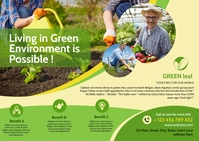 Green life environment business postcard temp template