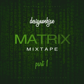 Green Matrix Mixtape Cover Template